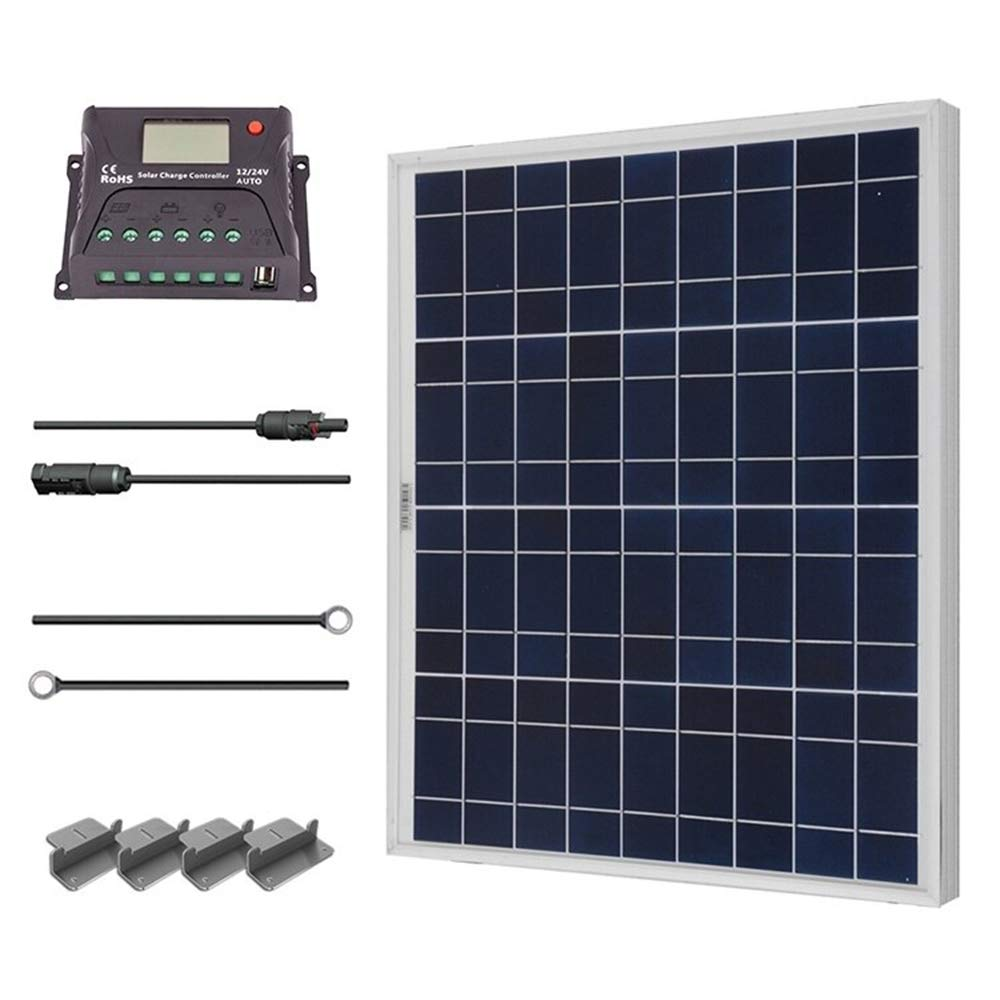 Renogy 50 Watts 12 Volts Polycrystalline Solar Starter Kit with 10Amp PWM Charge Controller,  Z brackets for RVs, Trailers, Boats, Sheds, and Cabins by Renogy