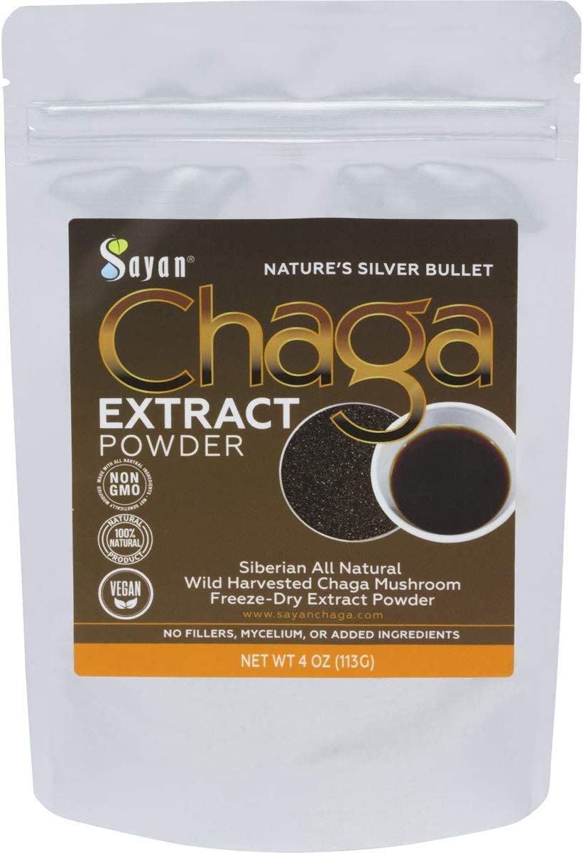 Sayan Siberian Wild Harvest Organic Chaga Mushroom Extract Powder 4oz 113g Powerful Immune System and Energy Booster, Antioxidant Tea, Promote Digestion, Focus, Clarity. Instant Coffee Mix Supplement