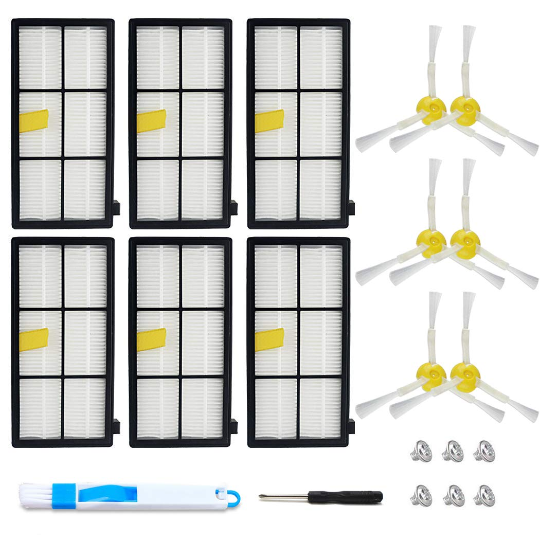 Kit De 6 Cepillos Y 6 Filtros Para Irobot Roomba 800 900 Series