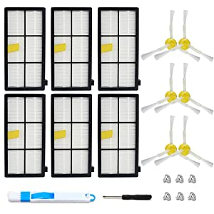 Mr.ZZ Replacement Parts for iRobot Roomba 800 900 Series 860 870 871 880 890 960 980 Vacuum Replacement Parts,HEPA Filter Replacement for iRobot Roomba, 3-Armed Side Brush,with 6pcs Filter, 6pcs Brush