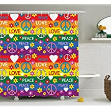 Ambesonne Groovy Decorations Shower Curtain Set, Heart Peace Symbol Flower Power Political Hippie Cheerful Colors Festival Joyful, Bathroom Accessories, 69W X 70L Inches