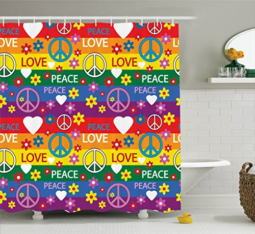 Groovy Decorations Collection, Heart Peace Symbol Shower Curtain, Purple