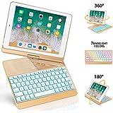 iPad Keyboard Case 9.7 for iPad 2018 (6th Gen) - 2017(5th Gen) - iPad Pro 9.7 - Air 2 & 1, 360 Rotate 7 Color Backlit Wireless/BT iPad Case with Keyboard, Auto Sleep Wake, 9.7 inch, Gold
