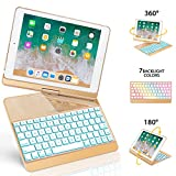 New iPad 9.7 Keyboard Case, GreenLaw 7 Color Backlit Cover 360° Rotate Smart