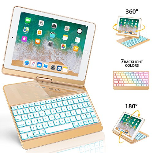 iPad Keyboard Case 9.7 Compatible iPad 2018(6th Gen)/2017(5th Gen)/iPad Pro 9.7/Air 2 & 1, 360 Rotate 7 Color Backlit Wireless/BT iPad Case with Keyboard, Auto Wake/Sleep (9.7 inch, Gold)