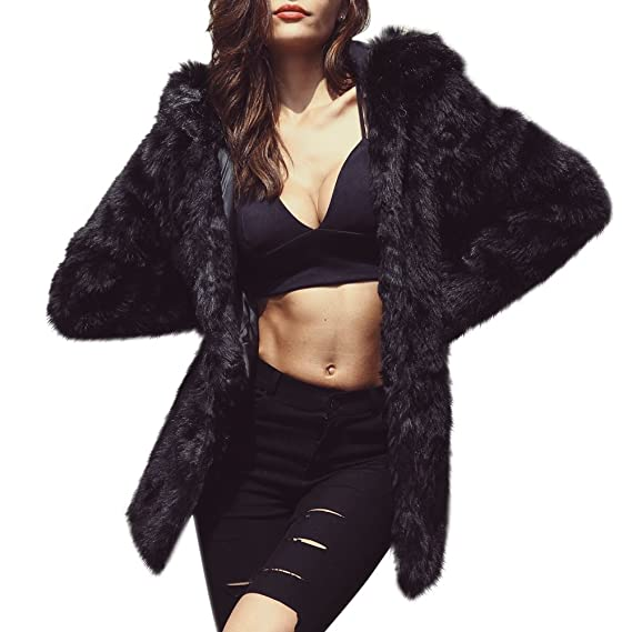 b9799ad48a59 iBaste Long Fluffy Hair Faux Fur Coat With Hood Winter Warm Shaggy Fake Fur  Jacket For Women: Amazon.co.uk: Clothing