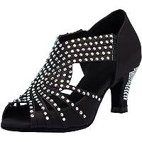TDA para Mujer Slip-on Medio tacón Satinado Cristales Latino Moderno Salsa Tango salón de Baile Zapatos de Baile de Boda
