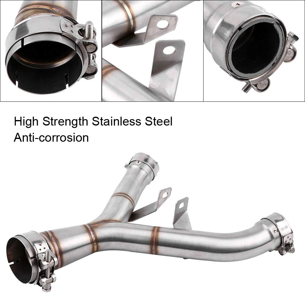 Cuque Motorcycle Exhaust Mid-Pipe Middle Pipe Modification Motorbike Vent Link Connector Stainless Steel Silver Tube for Kawasaki Z1000 2011 2012 2013 2014 2015 2016 2017 2018