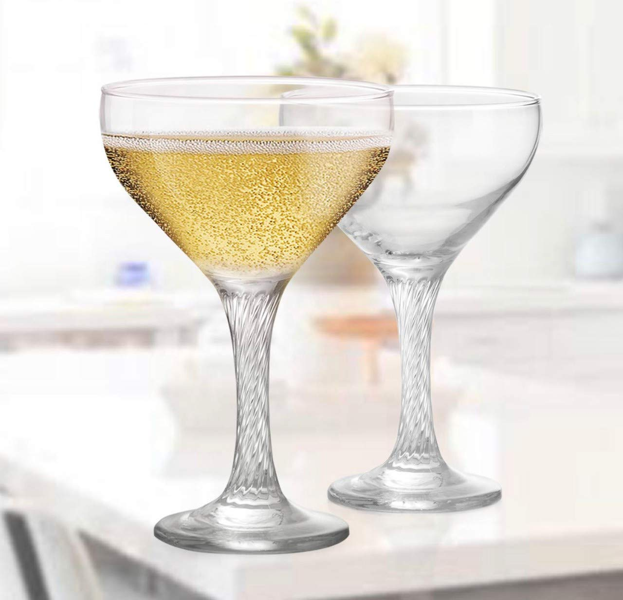 GLASSCO Engraved Martini Coupe Cocktail Glasses - 9.50 Ounce Cups, (Set Of 24)