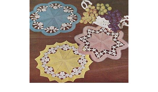 Vintage Crochet PATTERN to make Flower Cutwork Applique Doily Mat GardenCutwork