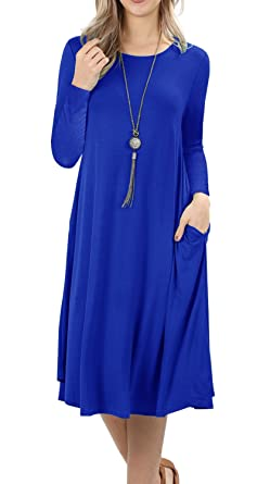 Womens Flare Long Casual Swing Dresses Grecerelle Midi Dress Sleeve BrdCoWxeQ