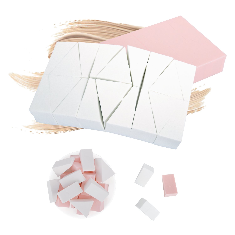 Luxspire 2PCS(48 Piezas) Esponja Maquillaje de Látex, Maquillaje Blender Foundation Puff, Esponjas para Aplicar Maquillaje, Corrector, Polvo, Crema y Colorete, Triángulo Pequeño, Blanco y Rosa