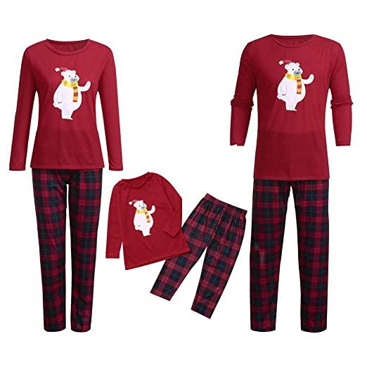 72365c961aed Kehen Family Matching Christmas Pajamas Set Baby Kids Mom Dad Beer and  Plaid Print Sleepwear Outfits