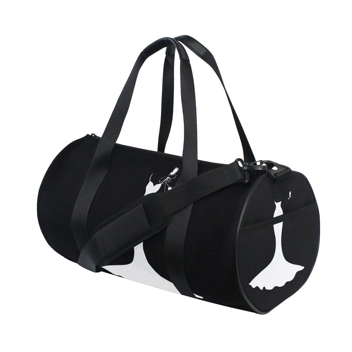 Naanle White Wedding Dress Black Gym bag Sports Travel Duffle Bags for Men Women Boys Girls Kids