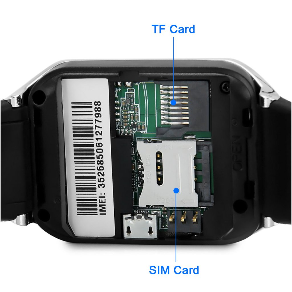 ZGPAX Bluetooth V3.0 Reloj elegante desbloqueado SIM reloj teléfono inteligente pulsera sincronización Call Música Recordatorio anti-perdió pantalla táctil ...