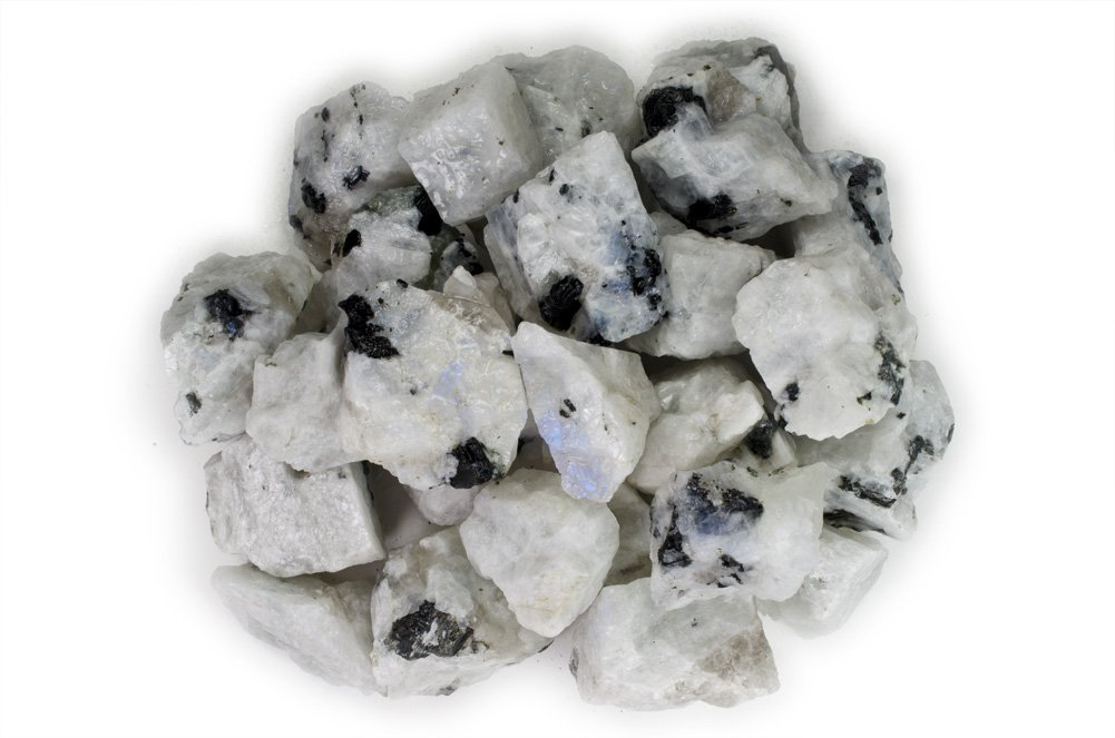 Hypnotic Gems Materials: 1 lb Rainbow Moonstone Stones from India - Rough Bulk Raw Natural Crystals for Cabbing, Tumbling, Lapidary, Polishing, Wire Wrapping, Wicca & Reiki Crystal Healing