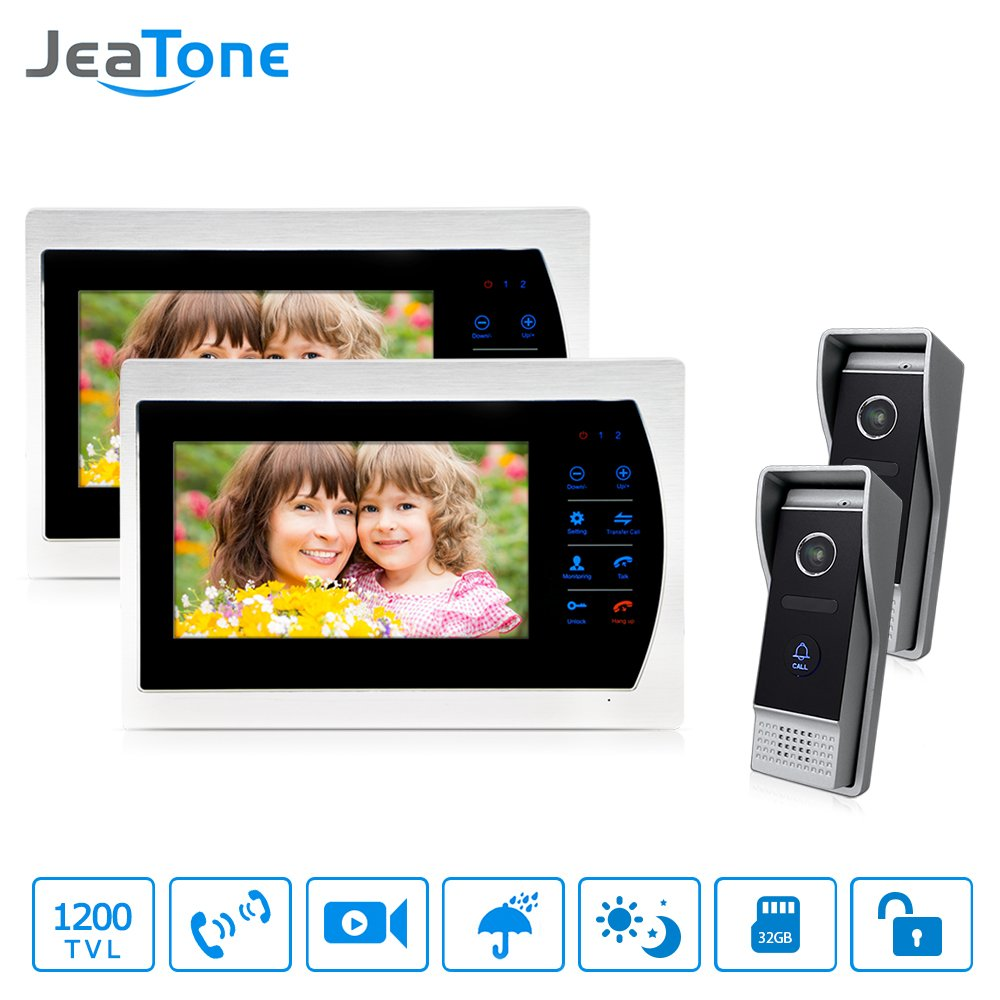 Jeatone 7'' HD Touch button Video Hands-free 2 Monitor Intercom with 2 camera Night Vision Residential Security Kit Home