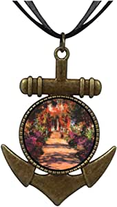 Chicforest Bronze Retro Style Monet's Garden Painting Anchor Pendant