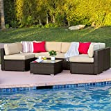 Best Choice Products 7PC Furniture Sectional PE Wicker Rattan Sofa Set Deck Couch Brown