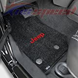 2014-UP Jeep Wrangler Floor Mats Black With Red Jeep 2PC