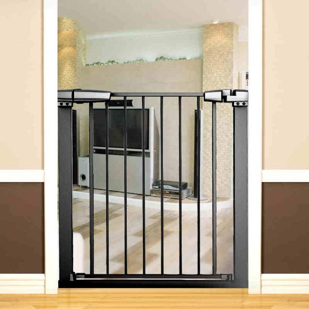 Portón retráctil para mascotas, portón para bebé extra ancho con puerta para gato, portones para perros montados a presión de metal negro para interiores, ancho de 76-173 cm (tamaño: 123-133 cm d