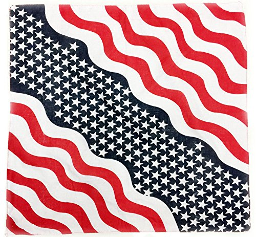 Efanr USA Flag Print Head Wrap 21.6 x 21.6 Inches Fashion Patriotic Handkerchief Headband Cotton Bandana for Women Men Children Hip Hop Lovers (Wave (2)