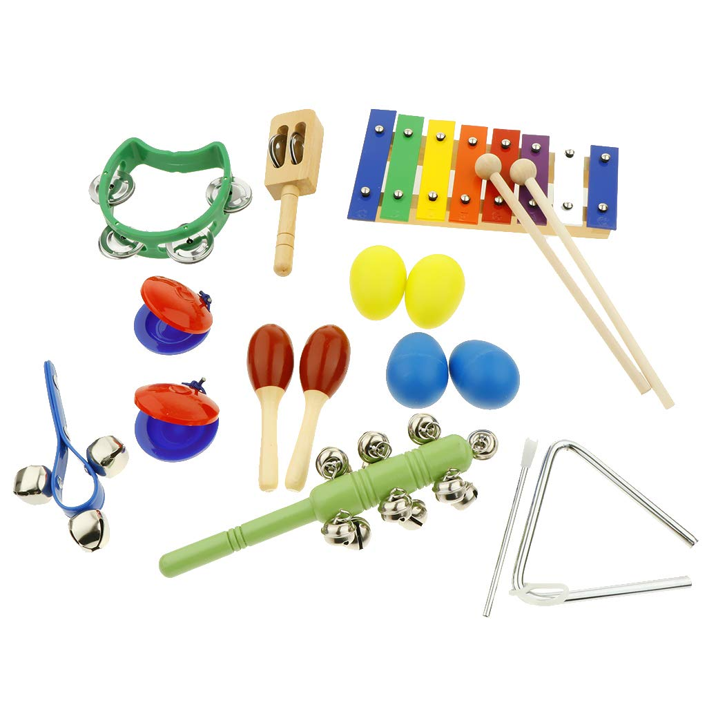 kesoto 17pcs Toddler Musical Instrument Toy Set, Tambourine & Sand Egg & Maracas and More for Kids Children Music Party Toy