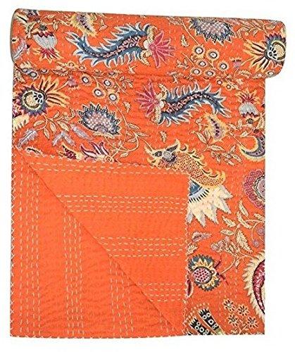 Amazon Com Sultan Handicrafts Orange Indian Hand Stitched Kantha