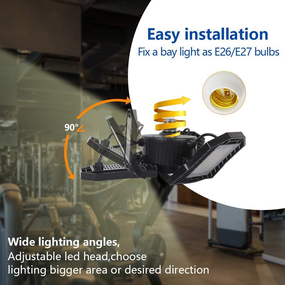 45W no-Sensor NATHOME led Garage Light,45W 216 LEDs Garage Lighting//Aluminum Cooling System//Daylight 5000K AC110V//deformable Three Leaf Garage Light,Indoor use for Shop Lights,Workshop Light