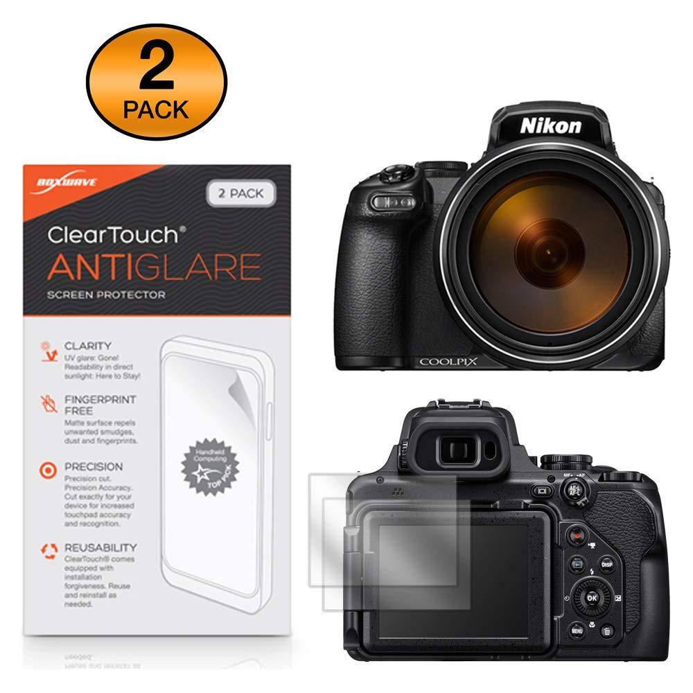 Nikon Coolpix P1000 Screen Protector, BoxWave [ClearTouch Anti-Glare (2-Pack)] Anti-Fingerprint Matte Film Skin for Nikon Coolpix P1000