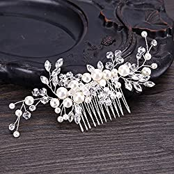 Urberry Bridal Flower Side Hair Clips Pearl Bridal Headpiece Wedding Accessories