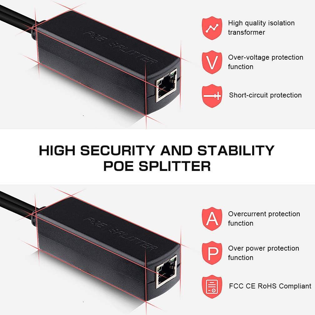 IEEE 802.3af Compatible 10//100Mbps PoE Splitter 12V Output para C/ámara de Vigilancia ipolex 2-Pack Active PoE Splitter Adapter 48V a 12V Power Over ethernet