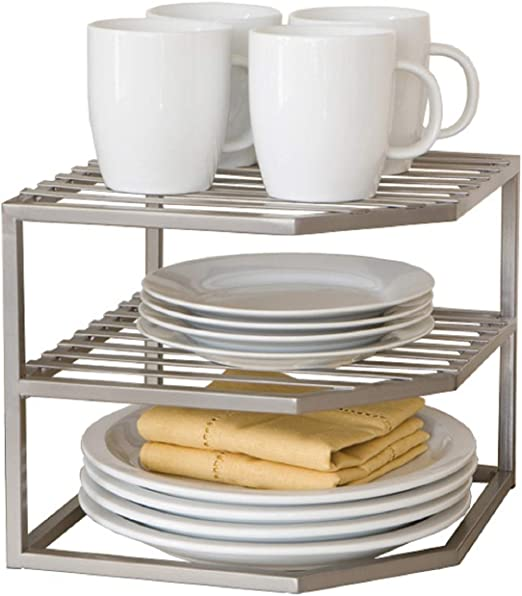 Organize Kitchen Cabinet Large Two Shelf Organizer Mugs Cans Hold Dinnerware