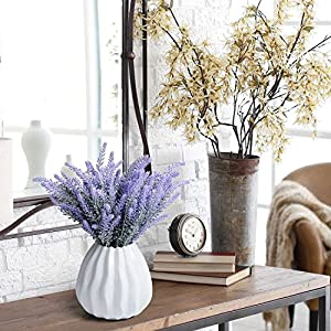 P-flowe Plastic Flower, Artificial Flowers Flocked Lavender Bouquet Romantic Fake Lavender Bunch Simulation Plant Flower in Purple Artificial Plant Home Wedding Garden Decor (4 Pcs Purple 3