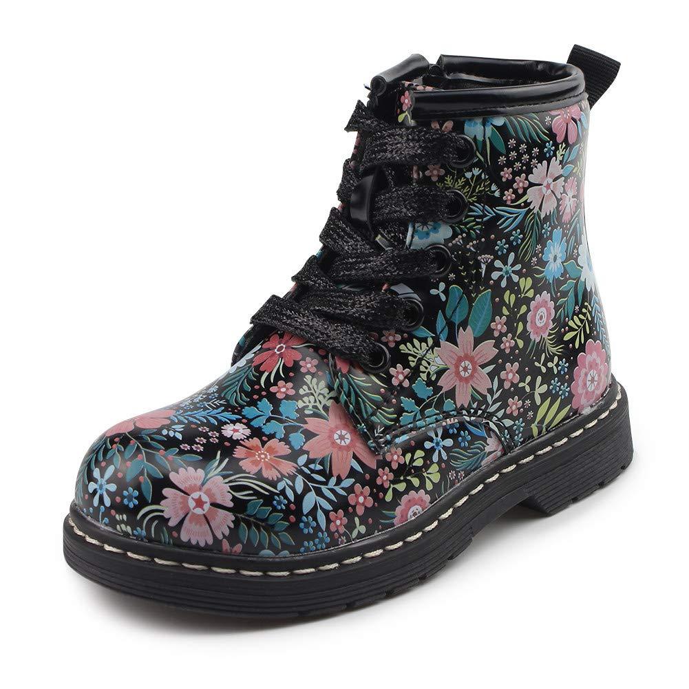 Chiximaxu Classic Waterproof Shoes for Girl Toddler Zip Flower Walking Boots MX-05