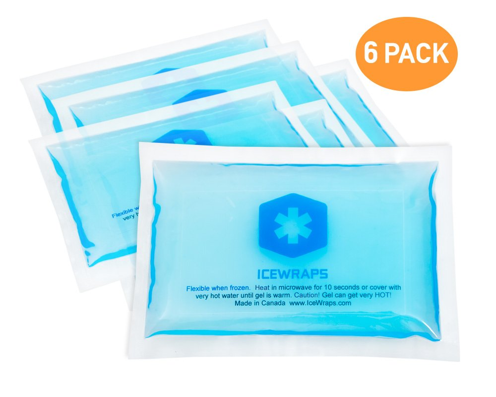 3x5 Gel Pack Reusable Hot or Cold Ice Packs for Overheating, Pain Relief, or First Aid By IceWraps (6 Pack, Blue)