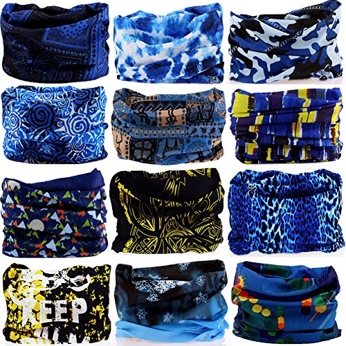 6PCS/9PCS/12PCS Multifunctional 16-in-1 Yoga Sports Fashion Travel Colors Headband Seamless Neck Uv Solid Moisture Wicking Bandana Hair Turban Scarf (12PCS-BLUE YELLOW)