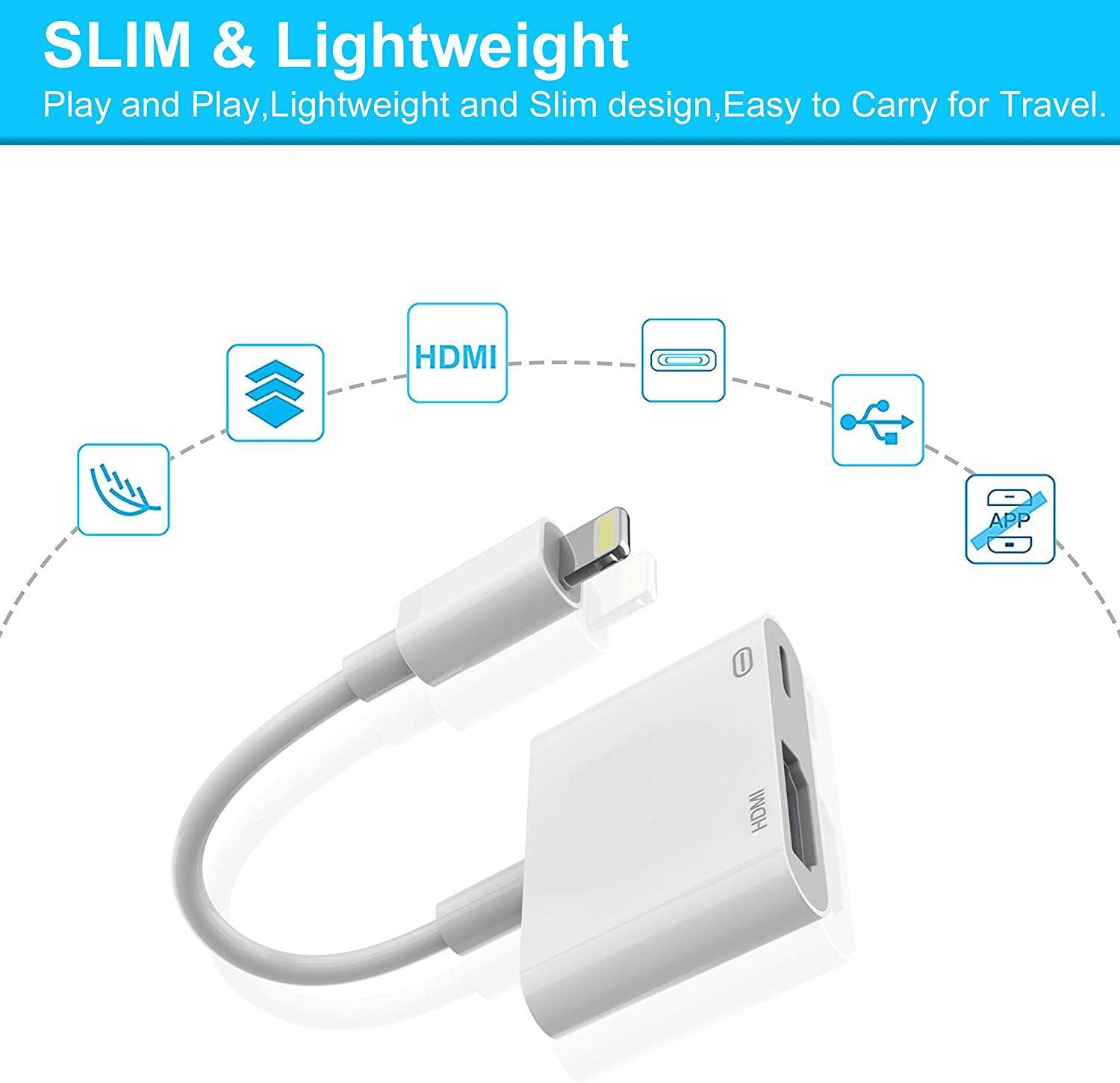 Lighting to HDMI Adapter,Converter iPhone to HDMI Digital AV Adapter,2 in 1 Plug and Play 1080P HD TV Connector Compatible with iPhone X iPhone 8//7//Plus iPad iPod Models on TV//Monitor//Projector