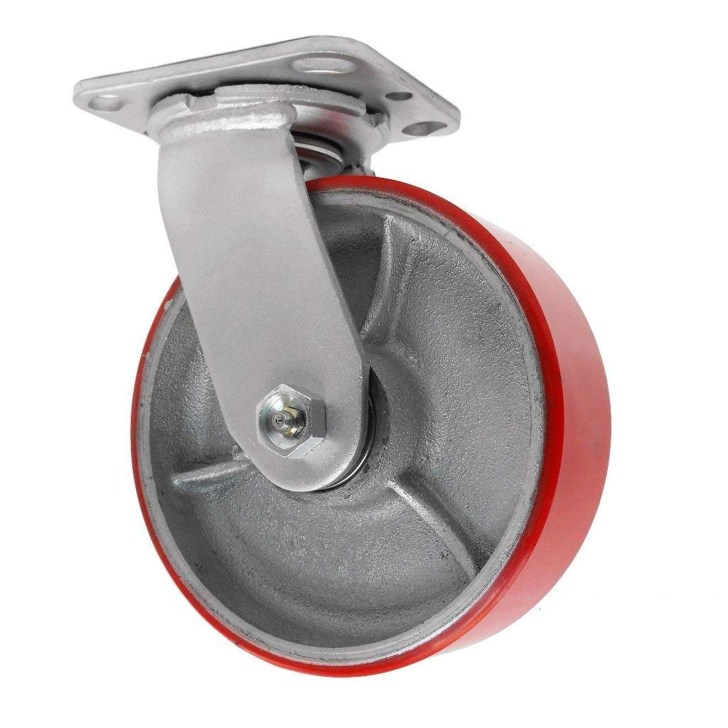 6 inch Swivel Caster - 6 X 2 Polyurethane on Iron Wheel - 1200 Lb Weight Capacity - Great for Tool Box Replacements or Heavy Equipment - Easy Push - CasterHQ Brand