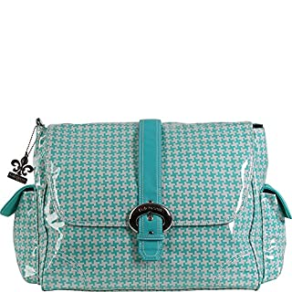 Kalencom Messenger Buckle Diaper Bag, Houndstooth/Aqua