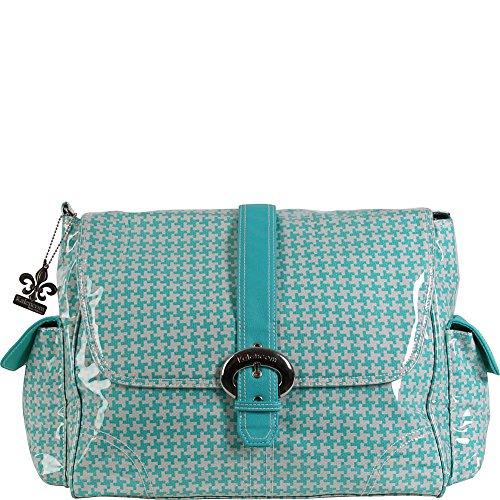 Kalencom Messenger Buckle Diaper Bag, Houndstooth/Aqua