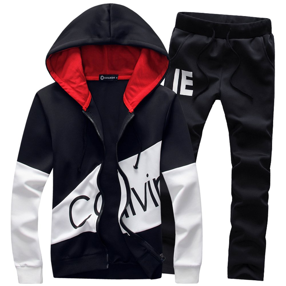 Manluo Hoodies Sports Suits Print Slim Fit Young Track Suit Outwear Jogging Black XL