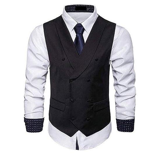 d076c5a0e2e Men s Slim Fit Black Sequins Vest Waistcoat Bottons Down Wedding Party  Nightclub Vest Black 34 Chest