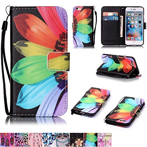 iPhone 6/6S Case,Firefish [Kickstand Feature] Durable Leather Flip Folio Wallet Case with Card Slot and Anti-scratch Protective Cover for Apple iPhone 6/6S-Sunflower