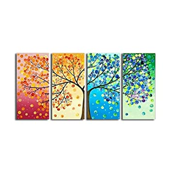 LA VIE 4 Teilig Wandbild Gemälde bunter Baum Hochwertiger Leinwand ...