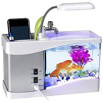 Malloom Inicio USB pequeño tanque de peces de múltiples funciones LED lámpara de mesa lámparas de gradiente bajo el agua sueño pequeño acuario (Blanco): ...