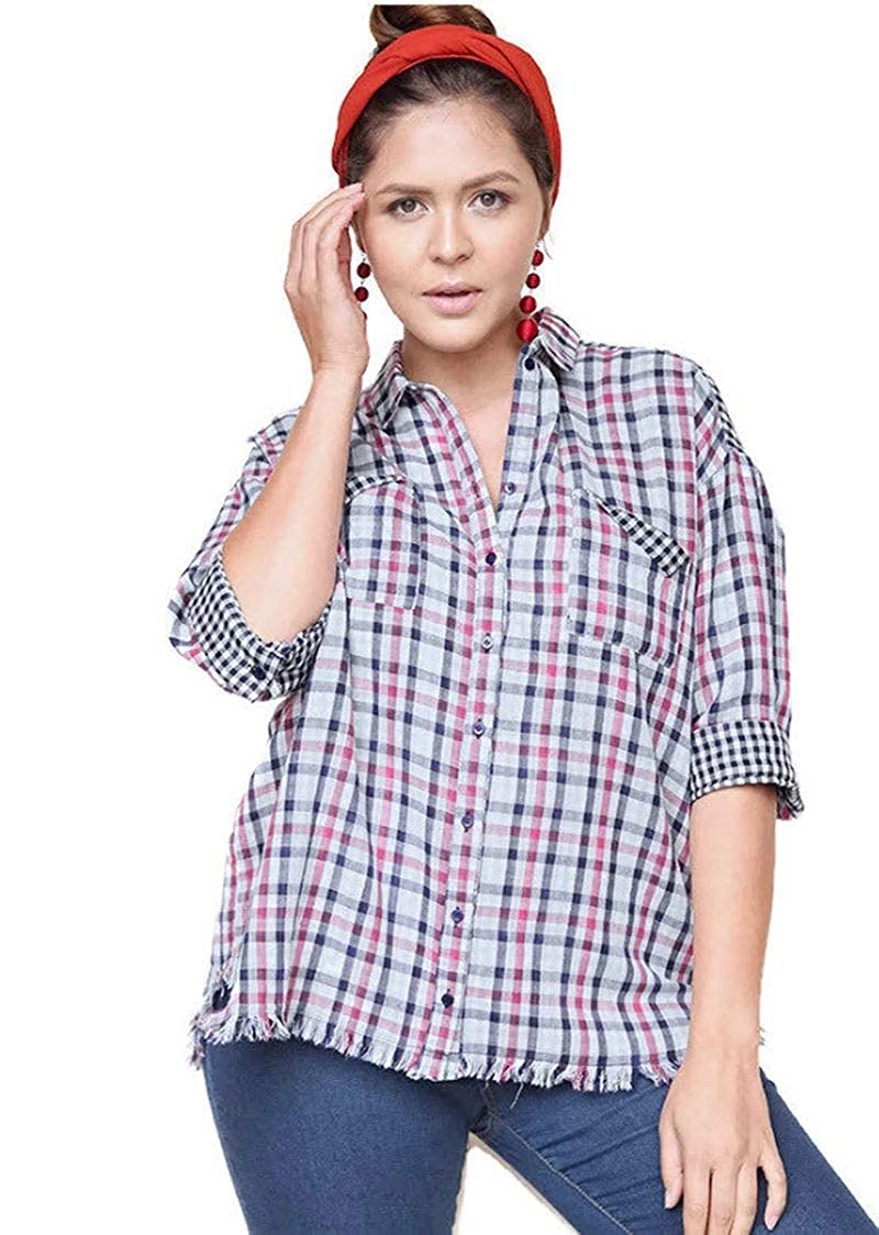 Cream Mix umgee USA Women's Plaid & Gingham Top