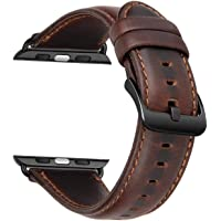 Styleys iWatch Band 42mm, Vintage Genuine Leather iWatch Strap for Apple Watch Series 4 Series 3 Series 2 Series 1 (Red Brown)