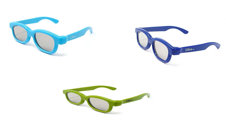3 Pares de gafas 3D pasivo Childrens Azul verde y luz azul para ...