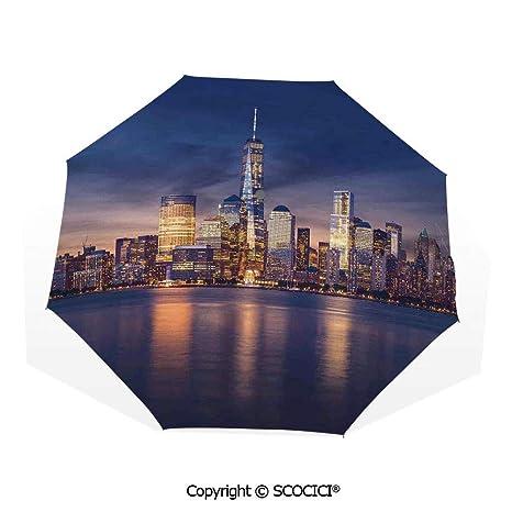 Custom Sunset scenery Compact Travel Windproof Rainproof Foldable Umbrella